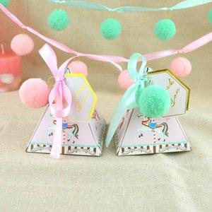 Треугольник Shaped Rocking Horse Фавор коробки Baby Shower партии конфеты коробка с лентой розового буле цветной бумаги подарочные коробки