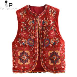 Vintage Sonbahar Çiçek Nakış Pullarda Kadife Kadınlar Vest 2020 Moda Kolsuz Hırka Bayan Dış Giyim Casual Yelek
