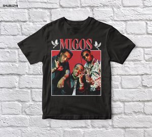 Migos 90s Vintage Unisex Black Tshirt Men T Shirt Cotton Tshirt Men Summer Fashion T-Shirt Euro Size