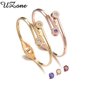 UZone intercambiáveis de aço inoxidável Pulseiras 4 cores pedra CZ Pulseiras pulsera de la mujer