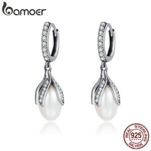 BAMOER Authentic 925 Sterling Silver Blooming Flower Petal Freshwater Pearl Drop Earrings for Women Luxury Silver Jewelry SCE259 200922