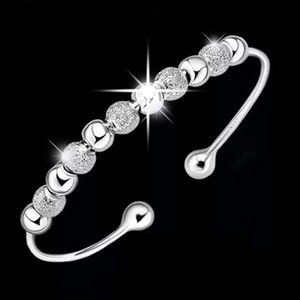 sterling silver items jewelry petty polished beads charm bracelets bangle chinese lucky blessing open designps2396