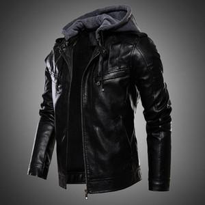 Para hombre de la chaqueta de la PU de la chaqueta de cuero de los hombres de la capa encapuchada abrigo forrado de pieles motocicleta de la manera del invierno del otoño más el tamaño 4XL 5XL