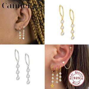 Canner 925 cuelga de largo pendientes Three circón colgantes pendientes joyas pendiente de gota para las mujeres Bellas W5