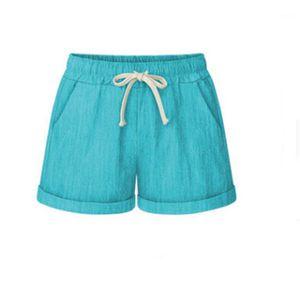 Streetwear con cordón Casual Running gimnasio de deportes Pantalones cortos de diseño femenino elástico elástico de la cintura de los pantalones de las mujeres de la pierna ancha pantalones cortos de verano Moda