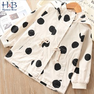 Humor Bear Korean Children'S Clothing Girls Spring &Autumn Windbreaker Jacket New Baby Children Mid-Length Hooded Polka Dot Coat