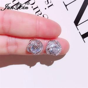 JUNXIN Cute Crystal Round Earrings For Women Silver Color White Zircon Stone Flower Stud Earrings Korean Wedding CZ