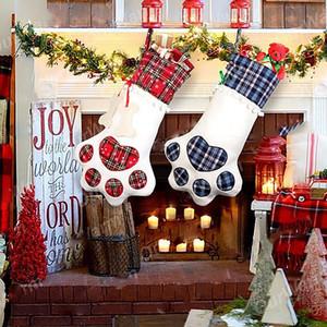 La pata medias de Navidad Bolsa de regalo del perro del hueso de la pata de la forma de la tela escocesa colgantes Las acciones colgante de Navidad regalo de la decoración de caramelo bolsa HHA1578