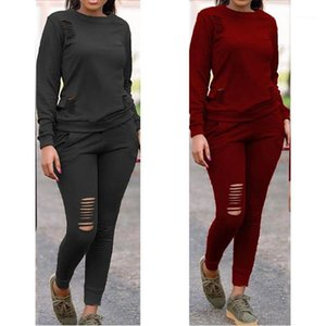 Hoodies Designer 2pcs Long Sleeve Sports Suits Womens Leisure Clothing Women Crew Neck Tracksuits Pure Color