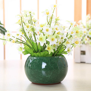 YeFine estilo chino hielo Grieta Porcelana Bonsai Para plantas suculentas hogar y del jardín decorativo plantador Macetas de cerámica Y200709