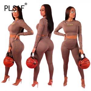 mulheres do estilo PLSIF populares criados o pescoço manga comprida 2 peças tops e longo pant roupas set agasalho senhora