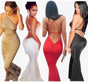 womens designer fashion dresssexy shoulder wrapped chest backless hip slim beach dress clothing55