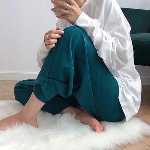 2020 Summer Casual Pure Color Высокая талия Straight Chic Женщины Кнопка дизайна Брюки женские брюки