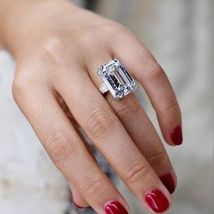 Statement Finger Rings Jewelry Vintage Emerald Cut Large Pink Sapphire CZ Cubic Zircon Diamond Promise Party Women Wedding Party Band Rings