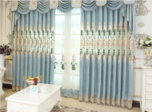 2020 hot sale High grade European luxury living room bedroom embroidered curtain atmosphere embroidered curtain cloth wholesale villa shadin