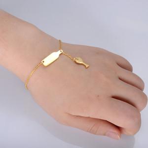Wineglass Chain Link Bracelets Women Bracelets Gold Silver Rose Gold Stainless Steel Wine Bottle Charm Bangle Fashion Jewelry