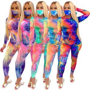 Designer Women Tracksuit Tie Dye 2 Piece Set Sexy Slim Print Long Sleeve Trousers Pants Outfits Ladies Casual Jogging Suit Including Masks