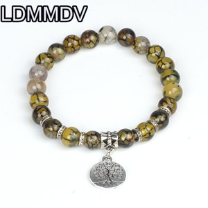 Dragon Vein Agates Bracelet Natural Crystals Round Stone Bead Bracelet 8mm For Muslim Prayer Tree of Life Yellow