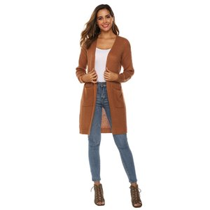 Plus Size 2020 Fashion Women's Loose Open Front Long Sleeve Solid Color Knit Cardigans Sweater Blouses with Packets