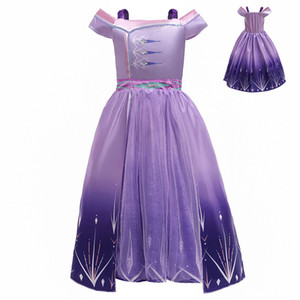 {Sweet Baby} INS Baby Girl Princess Dresses Kid Off Shoulder Skirt New Summer Party Elegant Solid Color Cosplay Purple Skirt