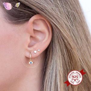 925 Argento Blu CZ Evil eye fascino Huggie orecchini a cerchio di monili delle donne Piccola Hoop Earings Moda