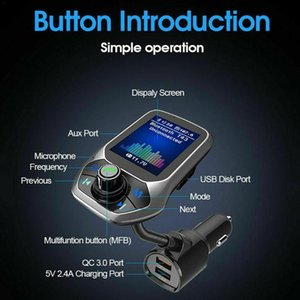 Color Screen Car Mp3 Music Player Bluetooth Receiver Transmitter Aux Double 2020 Charger Output FM Audio Car USB F2M9