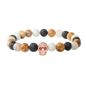 Trendy Black Lava Stone Bead Bracelets Pave CZ Skull Charm Bracelet For Men Women Yoga Jewelry Gift