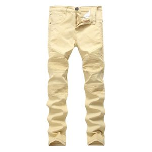 Casual Straight Jeans Pants Men Solid Fashion Denim Trousers Ripped Slim Street Wear Plus Size