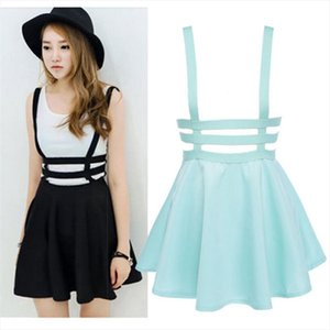 2020 Women Hollow Mini Skater Skirt Summer Cute Suspender Clothes Straps High Waist Skirts Cherrykeke Vestido