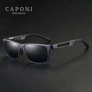 Polarizada CAPONI de aluminio de los hombres gafas de sol de espejo de los vidrios de Sun Plaza de máscaras Accesorios de gafas