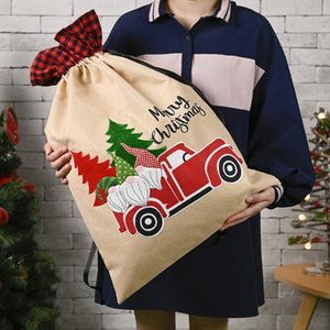 Christmas Plaid Gift Bags Forest Old Man Car Printed Gift Candy Apple Bags Merry Christmas Bag Party Oornament Supplies 70*45cm GWE1663