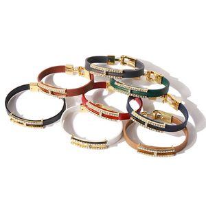 Hot brand jewelry Pu leather bracelet inital letter crystal bracelet for women jewelry