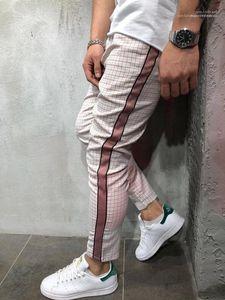 Ropa primavera otoño pantalones para hombre plaids pantalones diseñador de rayas pantalones hombres