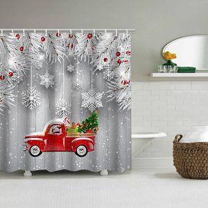 Christmas snowflake wood board car festive shower curtain holiday bathroom waterproof partition curtain bathroom