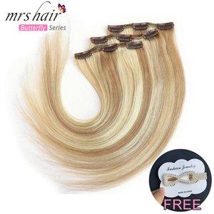 MRSHAIR grampo em extensões do cabelo humano 3 Pcs Duplo Cabelo trama Remy Preto Brown Loira 16 18 20 22 polegadas Natural Hetero Pad cabelo