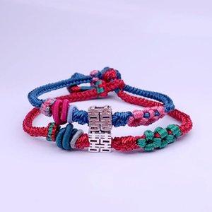 Réel Argent 925 Double Happiness Bracelet Amulette main chanceux corde Bangle macramé Bijoux