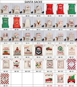 2020 Santa Claus Sacks Christmas Party Gift Bags Large Cotton Bag 50*70cm Size Beige Monogrammable Gift Santa Bag With reindeers