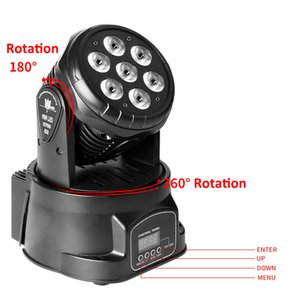 DMX512 LED Mini DJ projecteur scène lampe AC110V-240V 80W RGBW automatique / commande vocale Party Couleur mixte Moving Head Light