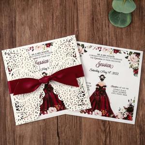 100pcs, Piazza Inviti Cards nuziale, Baby Shower Invita, compleanno, Quinceanera, con Red Bowknot Hollow, W0003