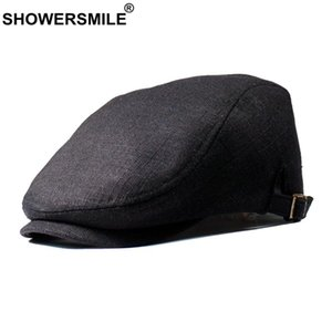 القبعات Showersmile أسود قبعة الكتان رجالي شقة كاب ربيع الخريف البط قبعة الرجال خمر الكاكي للتعديل الذكور البريطانية اللبلاب ليفي كاببي