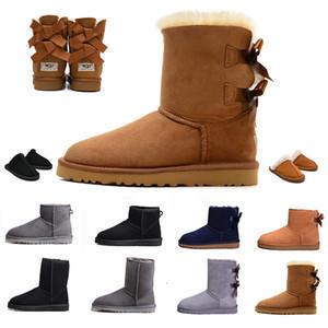 Kürk kar kadın kışlık botlar Deri klasik diz yarım Uzun ayak bileği Siyah Gri kestane kahve sıcak Bailey Bow Bayan çizme kız botte ayakkabı