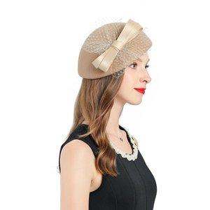 Donne Berretti Cappelli Khaki Fascinator Lana Caps Femminile Arco-nodo di decorare Wedding cappello Donna Cocktail Party Beret Cap