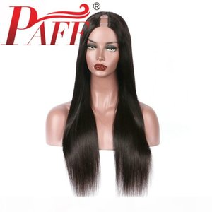 PAFF Human Hair U Part Wigs Silky Straight 100% Peruvian Remy Hair Wig Middle Part With Natural Color 1x3 Inch Opening