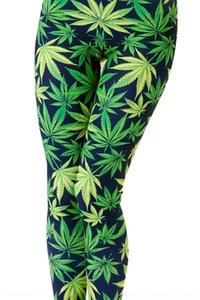 LTqma Starry Sky узкие брюки узкие брюки зеленый печати черный фон цифровой листья сексуальные гетры Digital