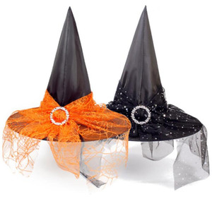 Adultos fita Fios Halloween Witch Hat Party Decor crianças Cosplay Props Gauze Witch Hat Costume Halloween Party Supplies Witch Headwear LY925