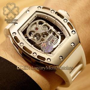Высокое качество Производители Спорт Luxury Watch 6t51 автоподзаводом Обмотка Tourbillon Hollow Культиватор RM52-01 RM-052 Белый каучуковый ремешок 316L