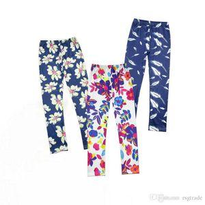 4 Colors Kids Girls Leggings Baby Girls Fall Srping Tights Little Girls Elastic Flowers Leaf Printing Trousers Pants Wholesale