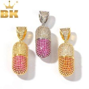سلاسل بلينغ الملك الأزياء منفتحين متعدد الألوان زجاجة شكل قلادة قلادة كامل مثلج مكعب زركون رجل مجوهرات قطرة