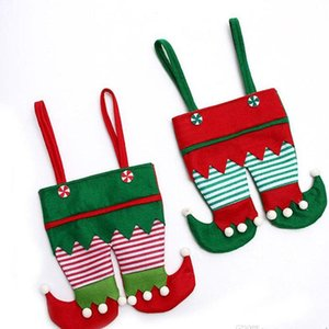 Non Woven Fabric Christmas Elf Pants Stocking Candy Bag Kids X-mas Party Decoration Ornament Gift