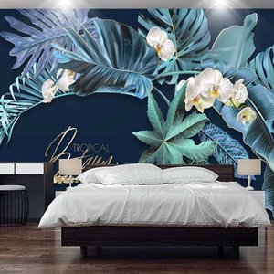 Photo Wallpaper 3D Stereo Blue Leaf Flowers Mural Living Room Bedroom Home Decor Tropical Plants Wall Painting Papel De Parede